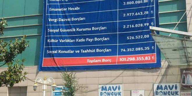 Gemlik'te AVM'ye 101 Milyonluk borç listesi asıldı