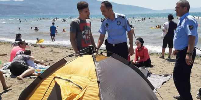 Zabıtadan Kumsaz'da çadır operasyonu
