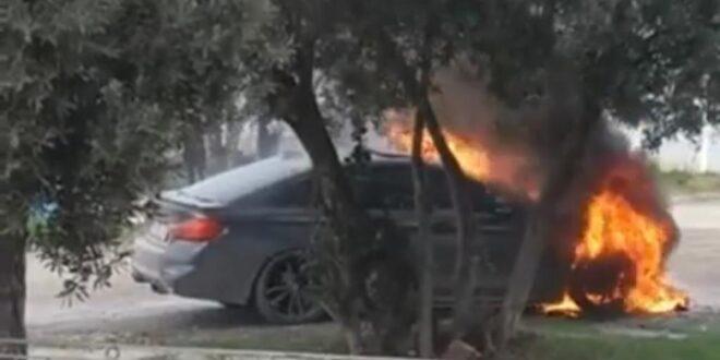 Gemlik Kurşunlu mahallesinde lüks otomobil alev alev yandı