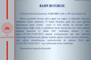 Bursa'da okullar açılmadan tatil edildi